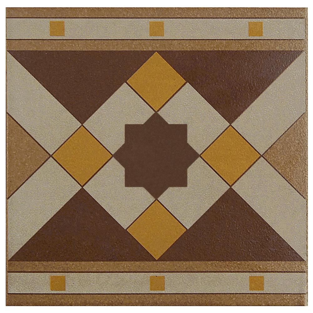 Porcelain Border Tile in Quatro Geo Cenefa colorway