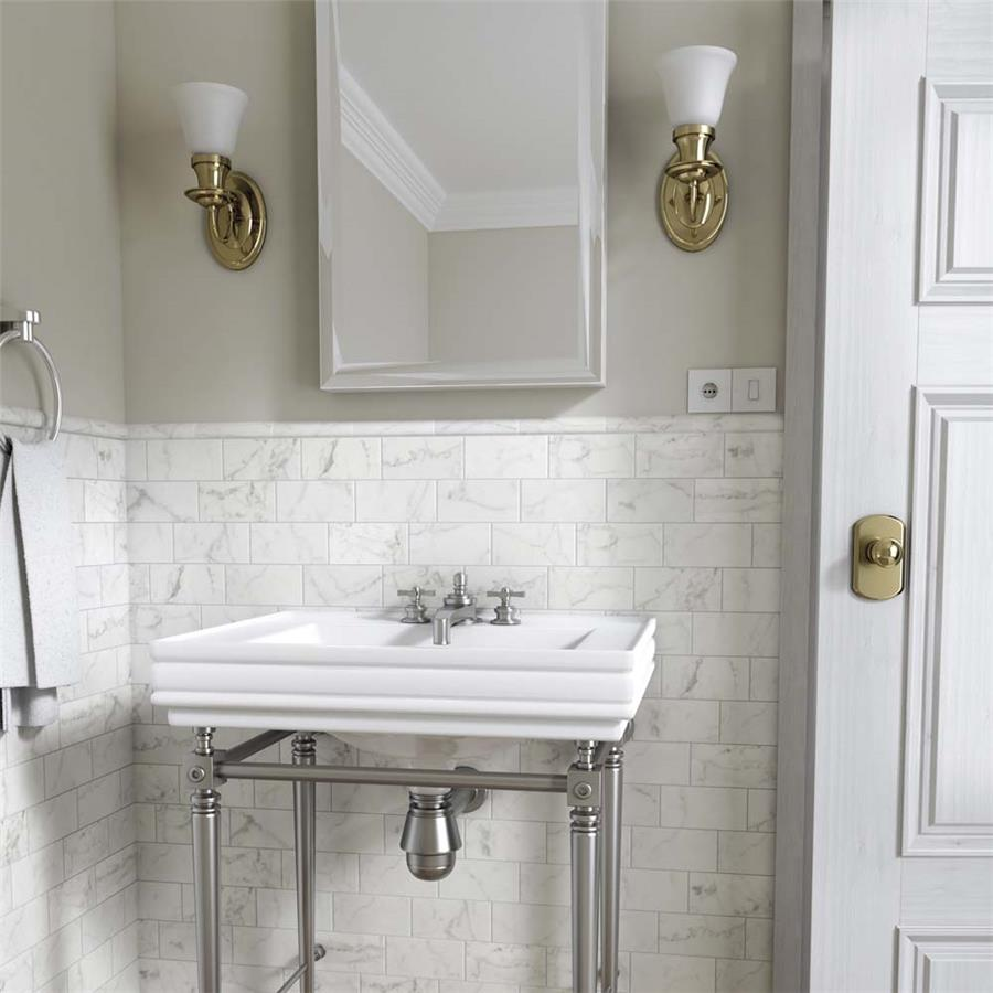 Ceramic Tile in 6 x 3in Carrara Matte White colorway