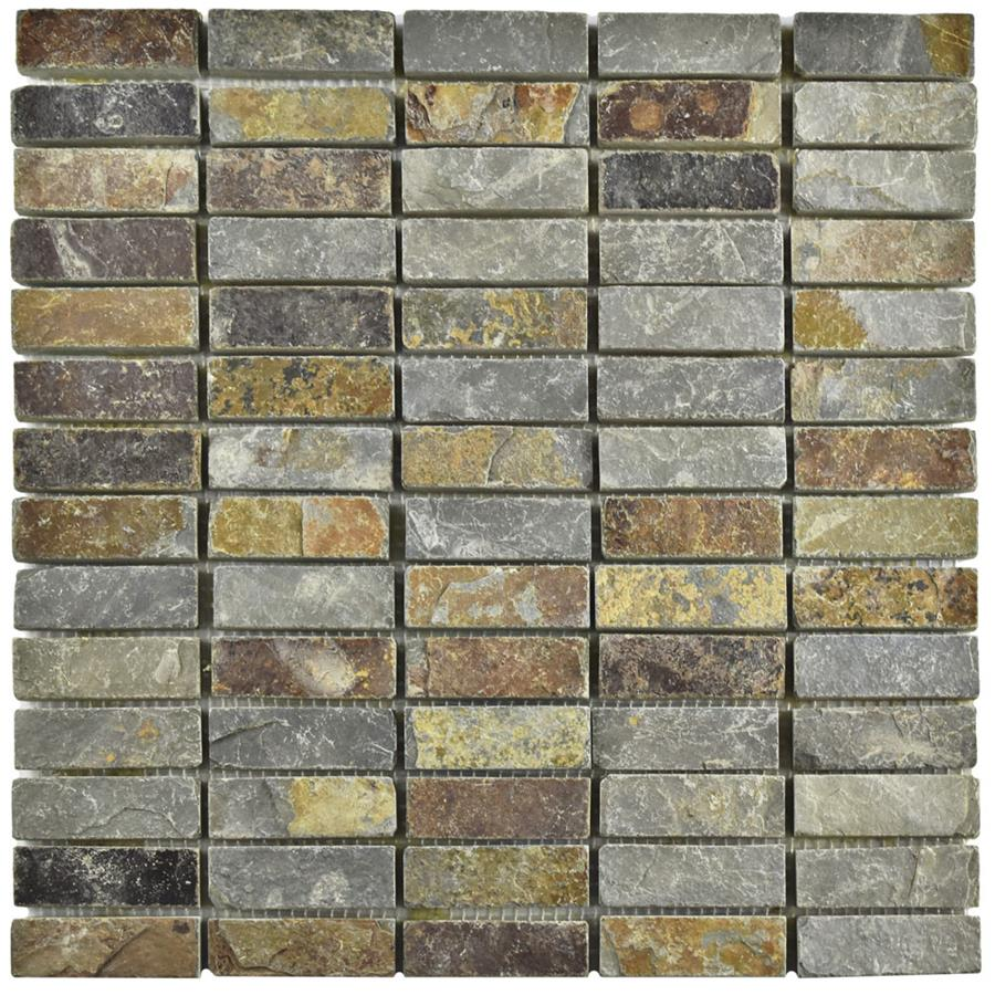 Natural Stone Slate Mosaic Tile in Linear Sunset Collection