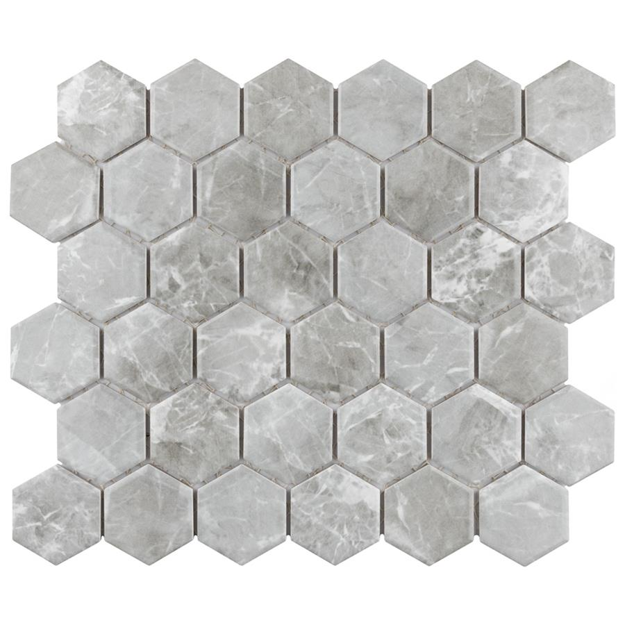 "Porcelain Tile in 2"" Hex Grey colorway"