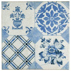 Ceramic Quarry Tile in Retro Azul Mix colorway