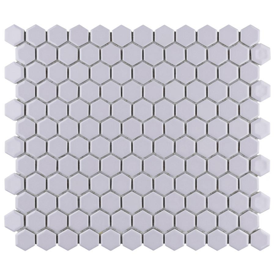 """Porcelain Mosaic Tile in Hex 1"""" Glossy Lavender colorway"""