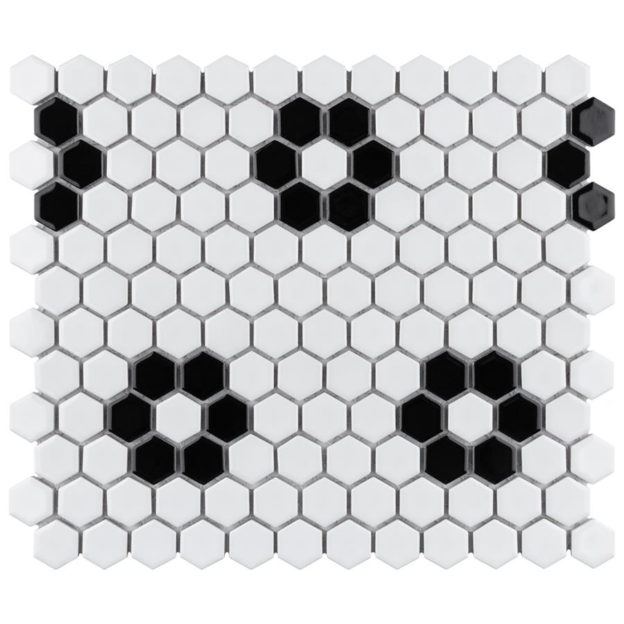 """Porcelain Mosaic Tile in Hex 1"""" Glossy White Heavy Flower colorway"""