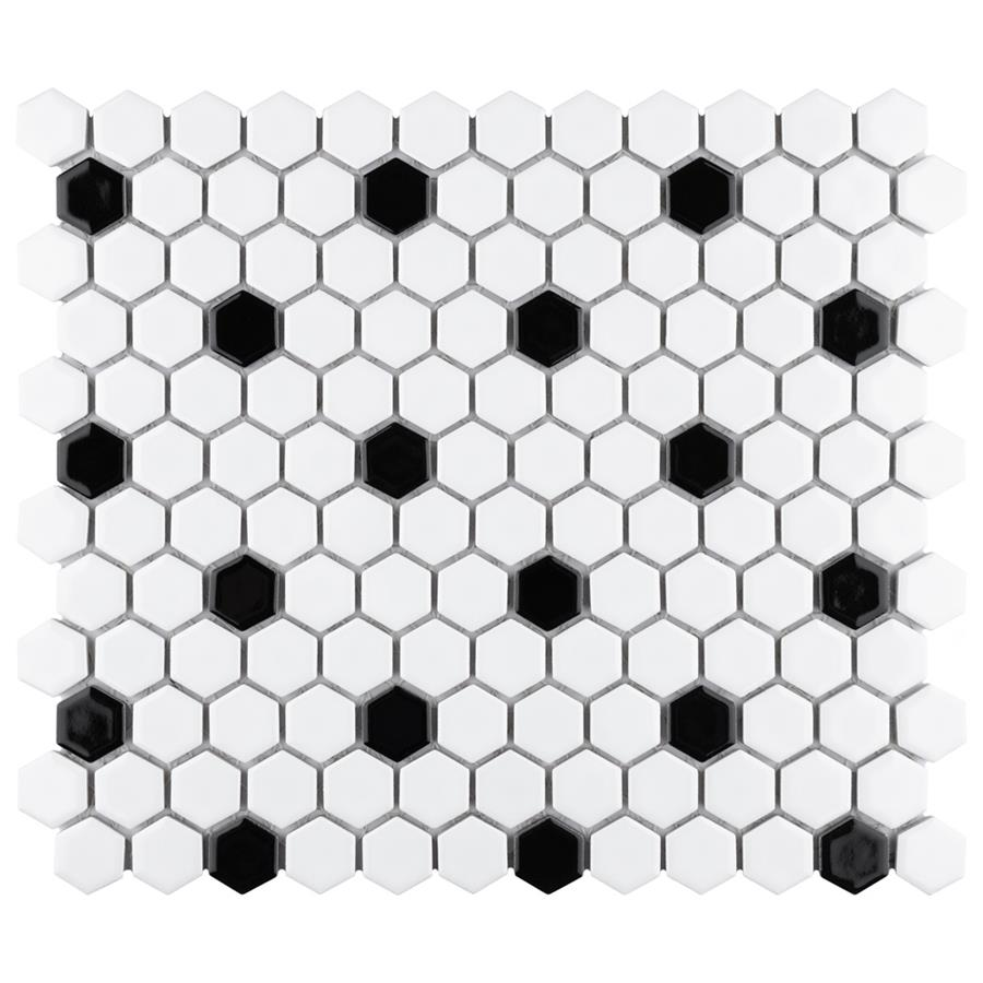 """Porcelain Mosaic Tile in Hex 1"""" Glossy White with Dot colorway"""
