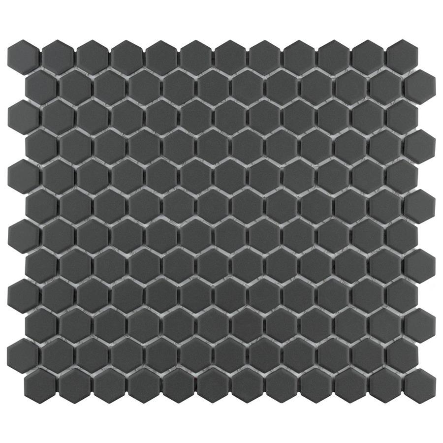 "Unglazed Porcelain Mosaic Tile in Hex 1"" Black colorway"