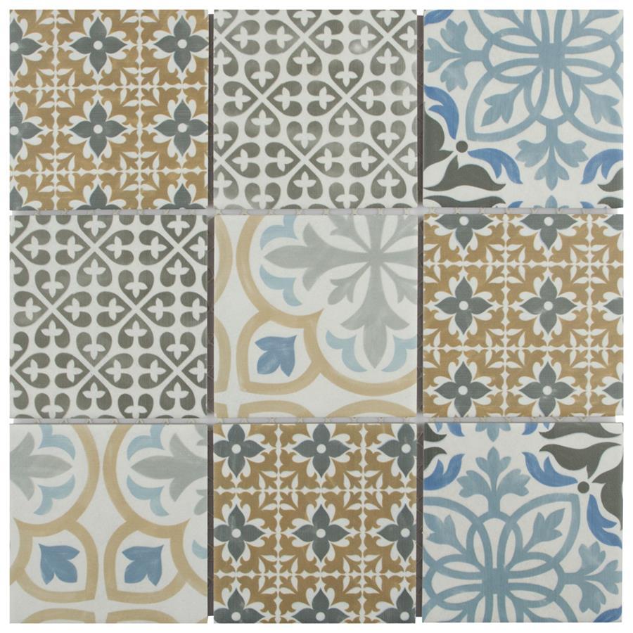 Porcelain Mosaic Tile in Multi colorway