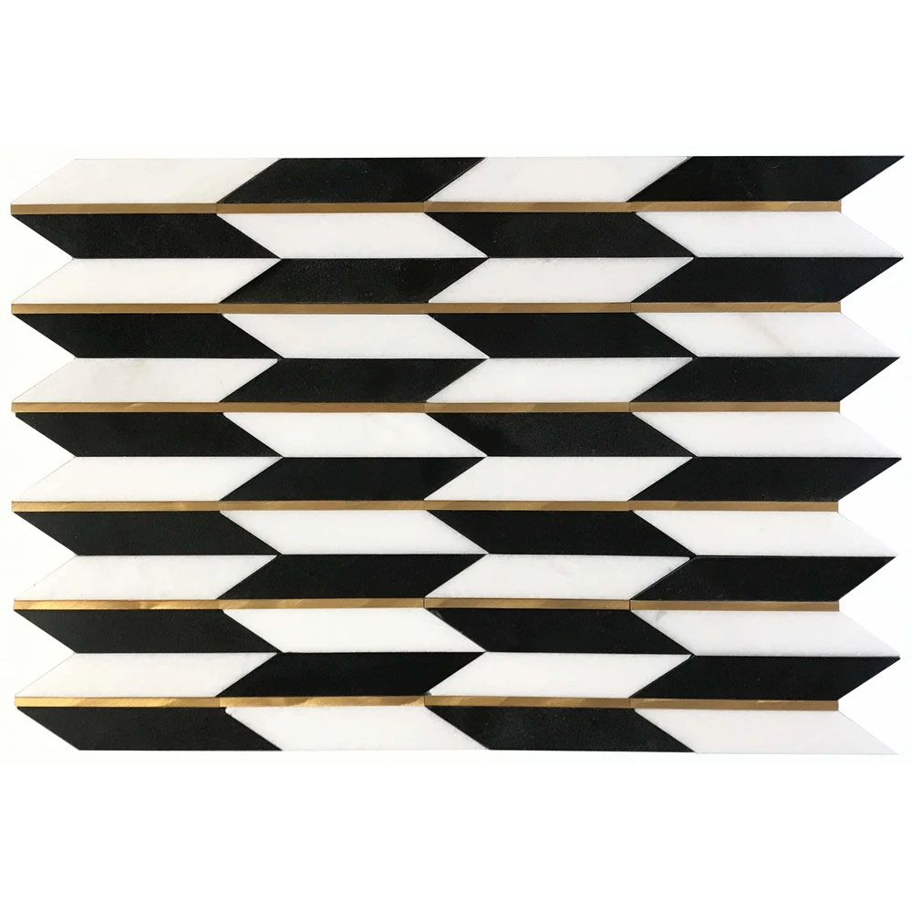 Era White And Black Stone & Brushed Painted Stainless Steel Tile