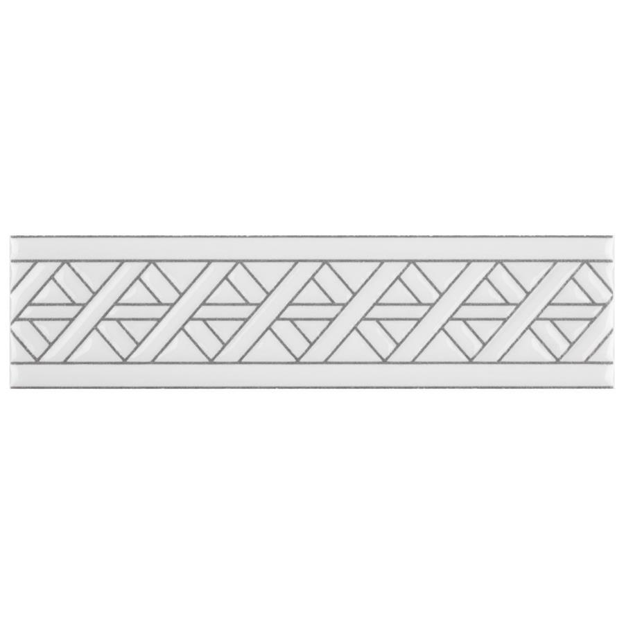Ceramic Listello Camino Trim Tile in White colorway