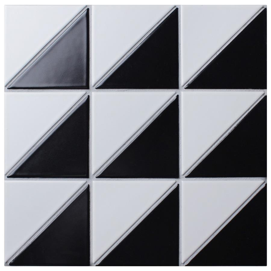 Porcelain Tile in Super Duel Iso Black And White colorway
