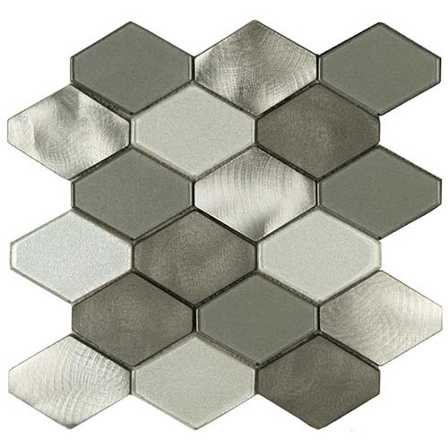 Hexy glass and aluminum tile in Mt. Sterling Blend colorway