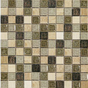12x12 Glass Mosaic tile in 1x1 Aurora Blend colorway