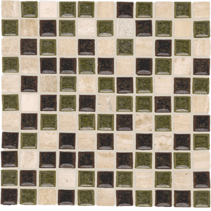 12x12 Glass Mosaic tile in 1x1 Luna Blend colorway