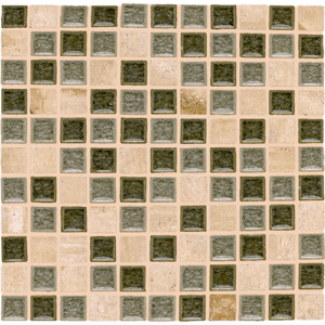 12x12 Glass Mosaic tile in 1x1 Opulent Blend colorway