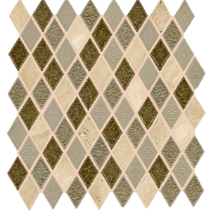 12x12 Glass Mosaic tile in 1x2 Aries Blend Harlequin colorway