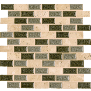 12x12 Glass Mosaic tile in 1x2 Opulent Glass Blend Brick colorway