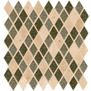 12x12 Glass Mosaic tile in 1x2 Opulent Blend Harlequin colorway