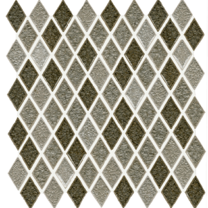 12x12 Glass Mosaic tile in 1x2 Orion Blend Harlequin colorway