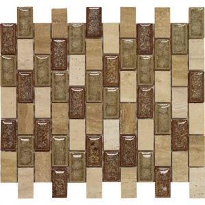 12x12 Glass Mosaic tile in 1x2 Phoenix Blend Brick colorway