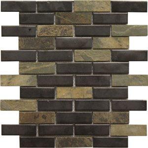 12x12 Ceramic Mosaic tile in 1x3 Colton Blend Brick colorway