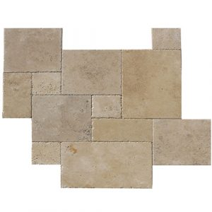 Travertine field tile in Ivory Versailles Pattern Chiseled and Brushed