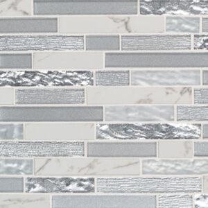 Porcelain Glass Mosaic sheet tile in Whistler Ice Interlocking