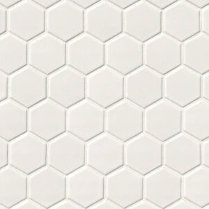 """Porcelain Mosaic sheet tile in White Glossy 2"""" Hex 6mm"""