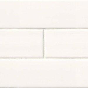 Ceramic tile in White Glossy 4x12