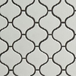 Porcelain Mosaic sheet tile in White Glossy Arabesque 6mm