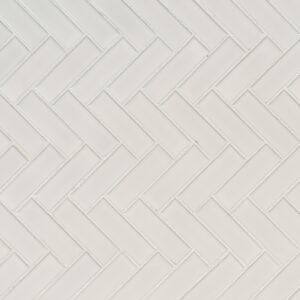 Porcelain Mosaic sheet tile in White Glossy Herringbone Mosaic