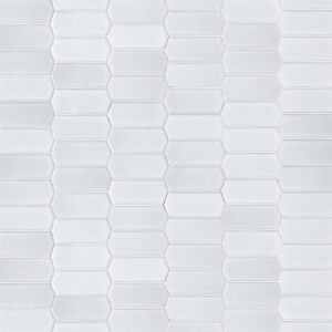 Porcelain Mosaic tile in White Glossy Picket 8mm