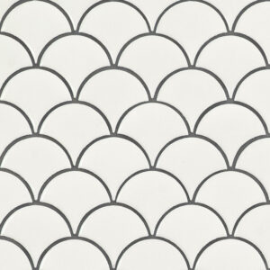 Porcelain Mosaic sheet tile in White Glossy Scallop 6mm