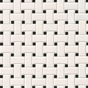 Porcelain Mosaic sheet tile in White and Black Matte Basketweave 6mm