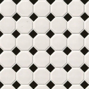 Porcelain Mosaic sheet tile in White and Black Matte Octagon Mosaic