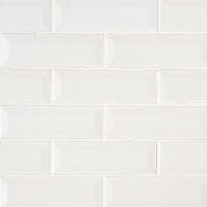 Ceramic Mosaic sheet tile in Whisper White 2x6 Beveled